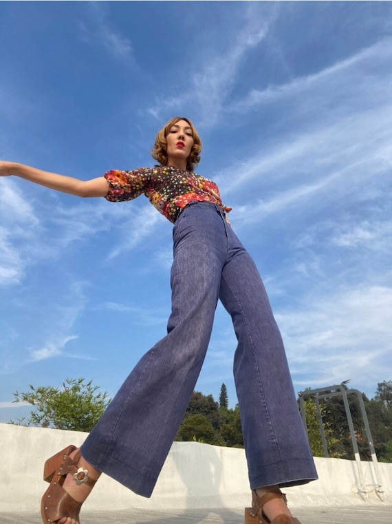 70s Ultra Hi Waist Denim Flares