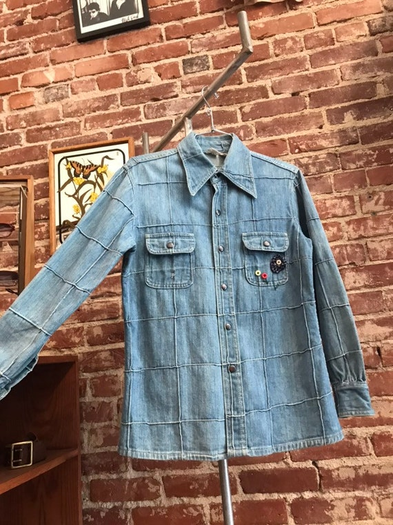 70s Light Wash Window Pane Women's 100% Cotton Denim Jacket