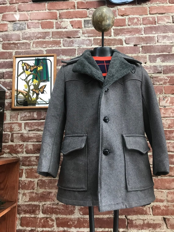 70s Mens Charcoal Grey Wool and Faux Fur Mod Coat Size Medium 36 Chest Vintage