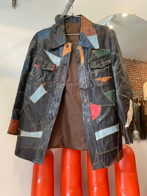 70s Leather Patchwork Snap Button Jacket