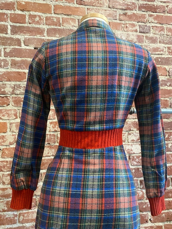 70s Plaid Long Sleeve Mini Dress - image 9