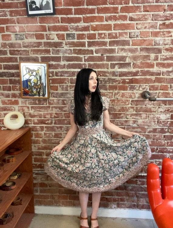 70s Black Floral Cotton Prairie Dress With Waist C