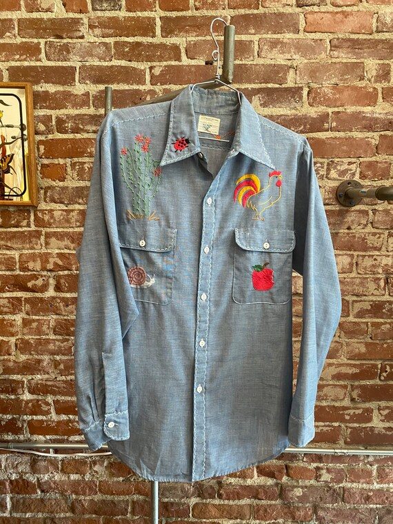 70s Men's Embroidered Chambray Shirt