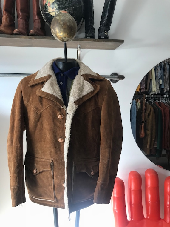 "Mens 70s Schott Rancher Sherpa Suede and Shearling Coat 38"" Chest Vintage Seventies 1970s"