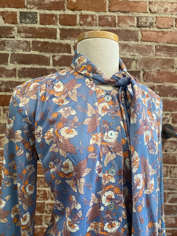 70s Floral Long Sleeve Mini Dress - image 5