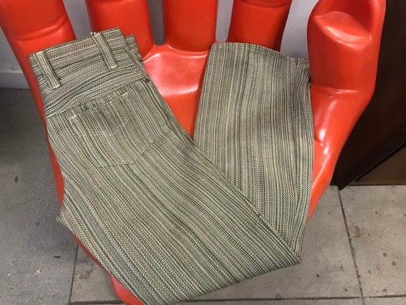 Mens 70s Mod Oliven Green Striped Cotton Trousers Vintage