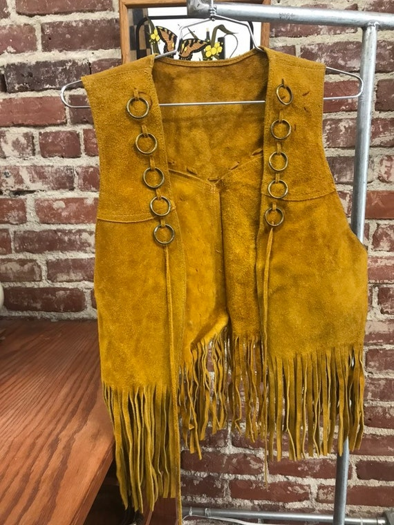 70s Hoop Ring Suede Fringe Vest Men's Medium Women's Large Vintage