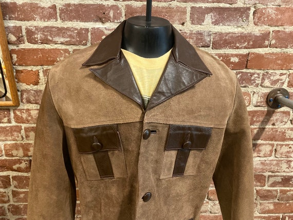 70s Men's Suede Leather Trimmed Two Toned Jacket by Lomeli of California