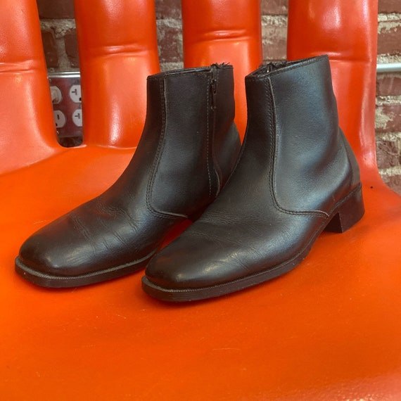 Mens 70s Black Leather Zip Up Ankle Boots Size 7.5
