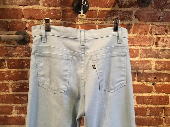 """70s Men's Levi's 517 Powder Blue Cotton Twill Sta Prest Pants 32"""" Waist by 29"""" Inseam"""