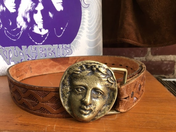 70s Grecian Brass Buckle Geometric Embossed Leather Belt