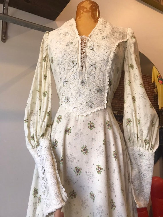 70s Victorian Cotton Knit Dress with Corset Tie Bust