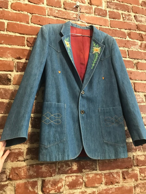 Mens 70s Lee Embroidered Chain Stitch LEE Denim Jacket