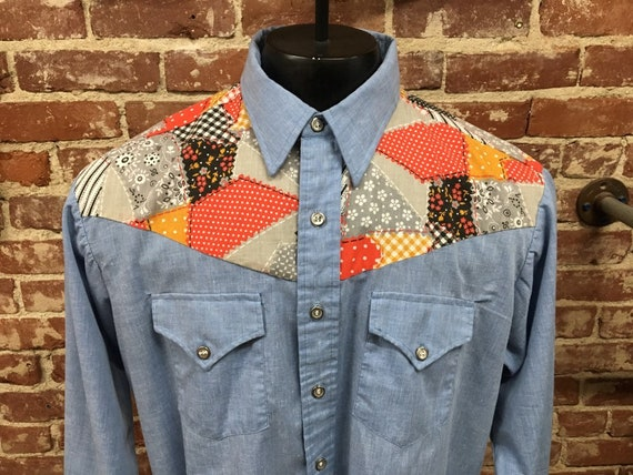 70s Men's Chambray Patchwork Button Down Size Extra Large Vintage Seventies 1970s