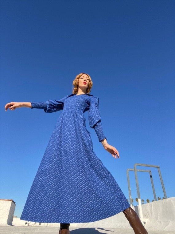 70s Cotton Ruched Cobalt Blue Prairie Gown with Pu