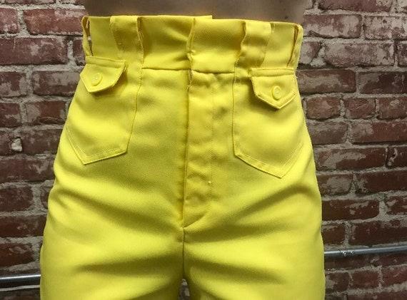 70s Ultra High Waist Lemon Yellow Flared Slacks Vintage Seventies 1970s