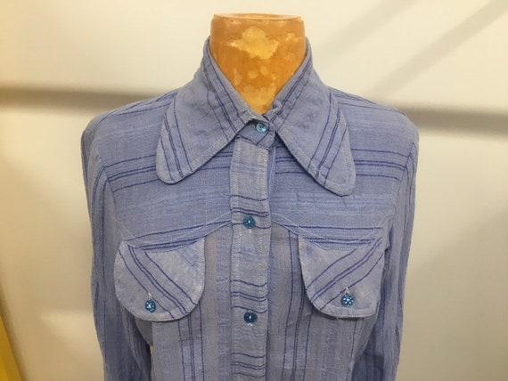 70s Yuva Cotton Blue Beagle Collar Blouse Made in India Size Medium