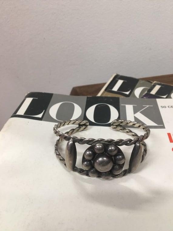 70s Silver Flower Cuff Bracelet Vintage Seventies 1970s