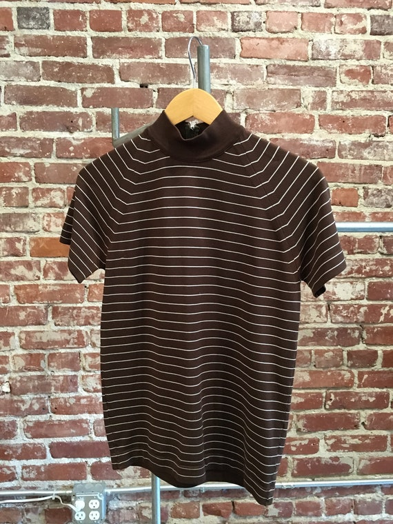 70s Men's Mod Brown & White Striped Shirt