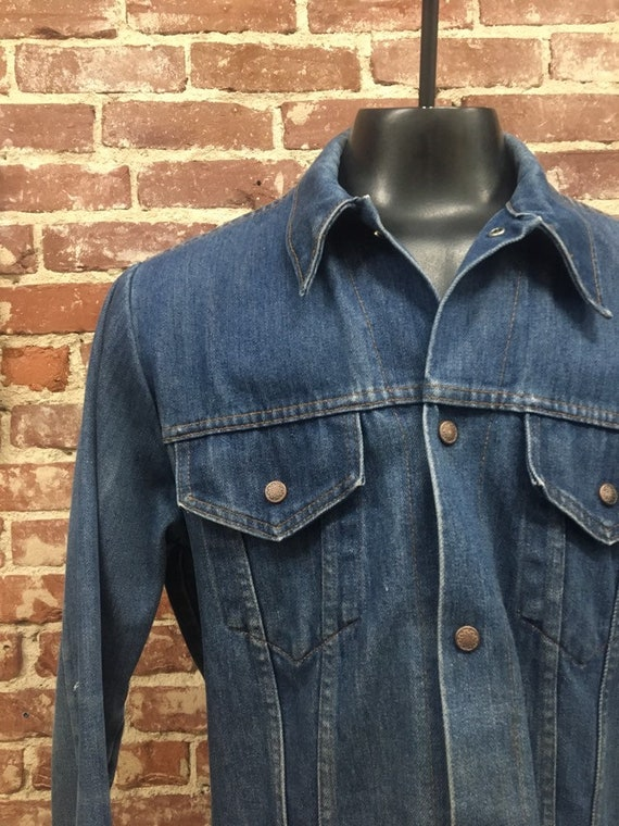 "70s Men's Denim Snap Jacket 44"" Chest"