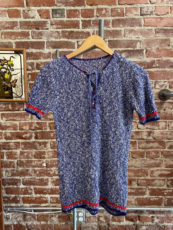 70s Knit Grommet Lace Up Shirt