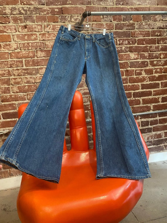"""Mens 70s Lee Denim Flared Jeans 32"""" Waist by 31.5"""""""