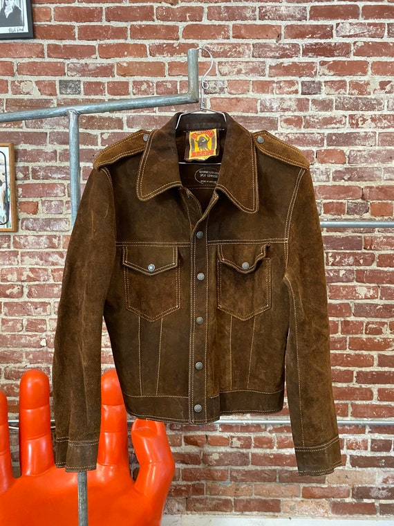 70s Men's Chocolate Suede Snap Button Jacket