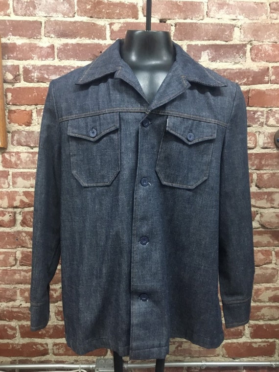 70s Men's Levi's Sta Prest Detroit Shirt Cut Jacket Size Large