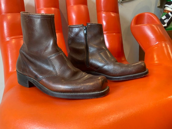 Mens 70s Deep Tobacco Brown Leather Zip Up Boots Size 8 D
