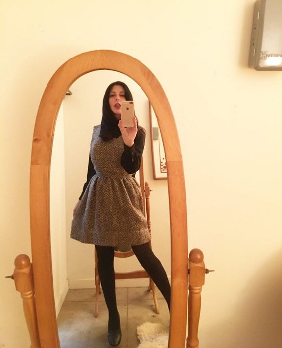 60s Tweed Mod Jumper Pinnafore Mini Dress