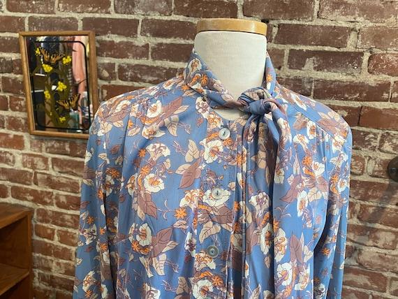 70s Floral Long Sleeve Mini Dress - image 3