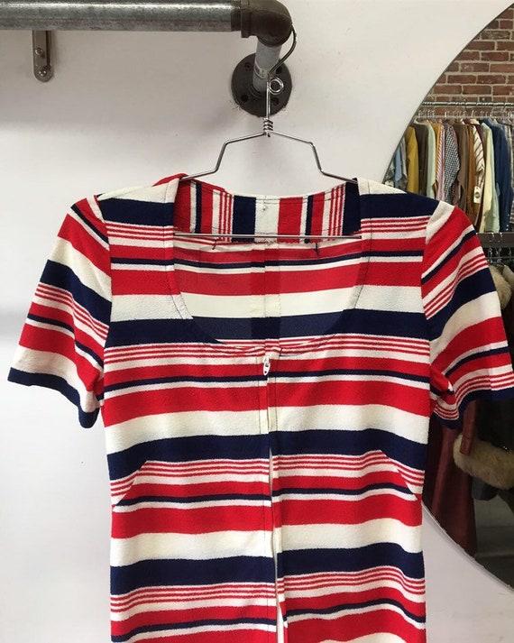 70s Rare Mod Short Jumpsuit Romper Stripes Vintage Seventies 1970s Size Small to Medium