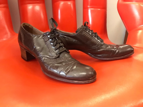70s Chocolate Brown Leather Wooden Heeled Victorian Oxfords Size 9.5