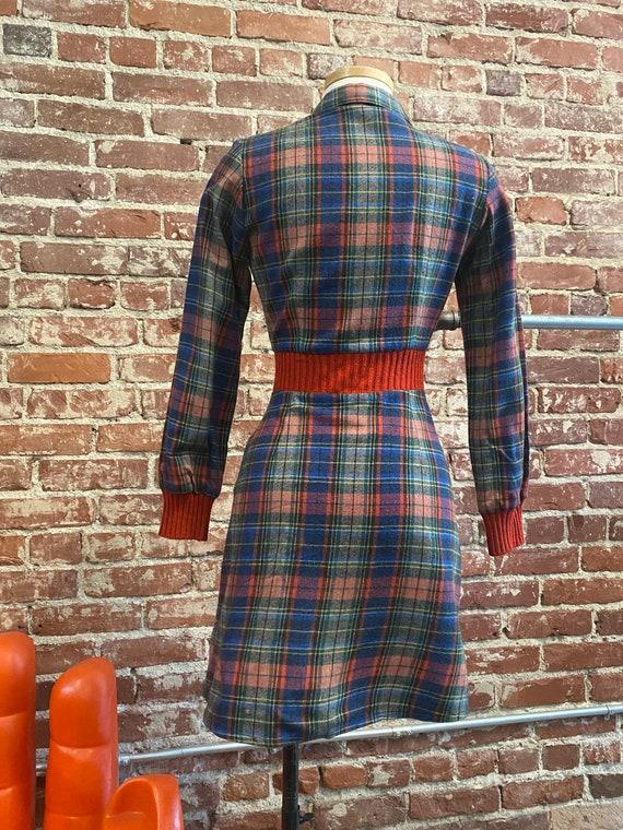 70s Plaid Long Sleeve Mini Dress - image 8