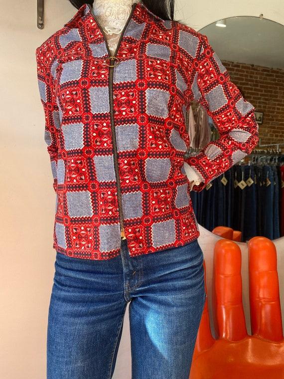 70s Hoop Ring Zipper Lightweight Cotton Jacket