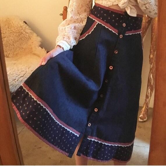 """70s Rare Gunnies Gunne Sax Denim Skirt Seventies 1970s 25"""" waist vintage"""