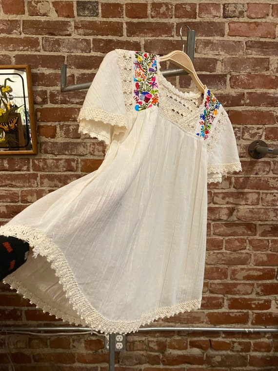 60s Gauze Cotton Crochet Lace Embroidered Peasant