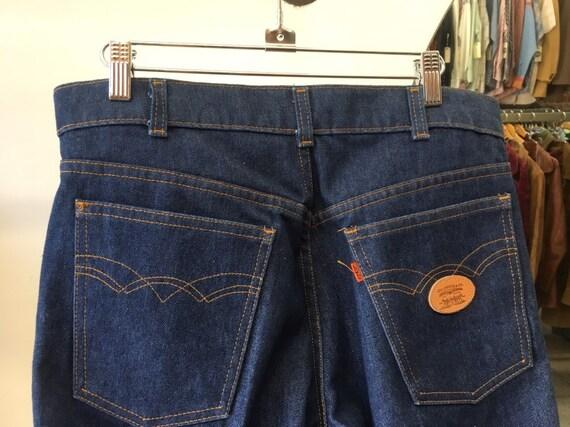 """70s Men's Orange Tab Levi's Dark Denim Strait Leg Jeans Seventies 1970s 32"""" Waist by 34"""" inseam Vintage"""
