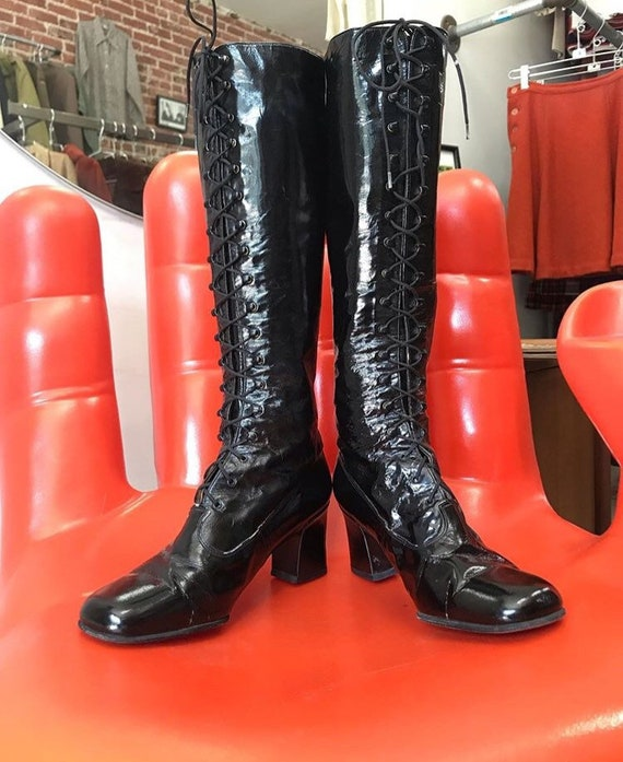 Made in Paris Charles Jourdan Patent Leather 70s Lace Up Boots Size 6.5