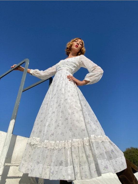 70s Gunne Sax Calico Corset Prairie Gown