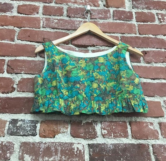 60s Cotton Crop Top 60s Flowers Size Extra Small Junior Petite Children's Size
