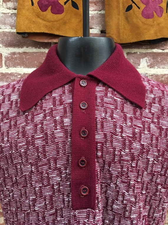 "70s Men's Mod Burgundy Polo 38"" Chest Vintage Seventies 1970s"