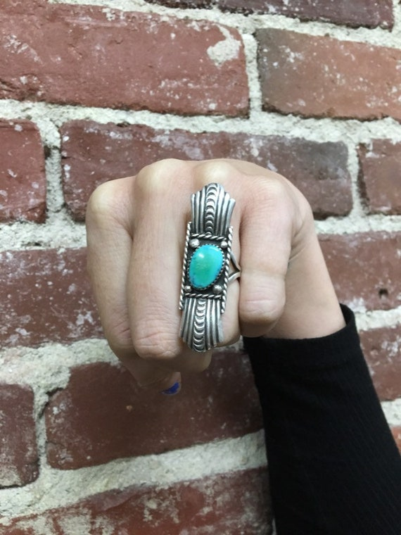 20s Art Nouveau Turquoise and Silver Ring. Vintage Rare Jewelry 1920s Size 6