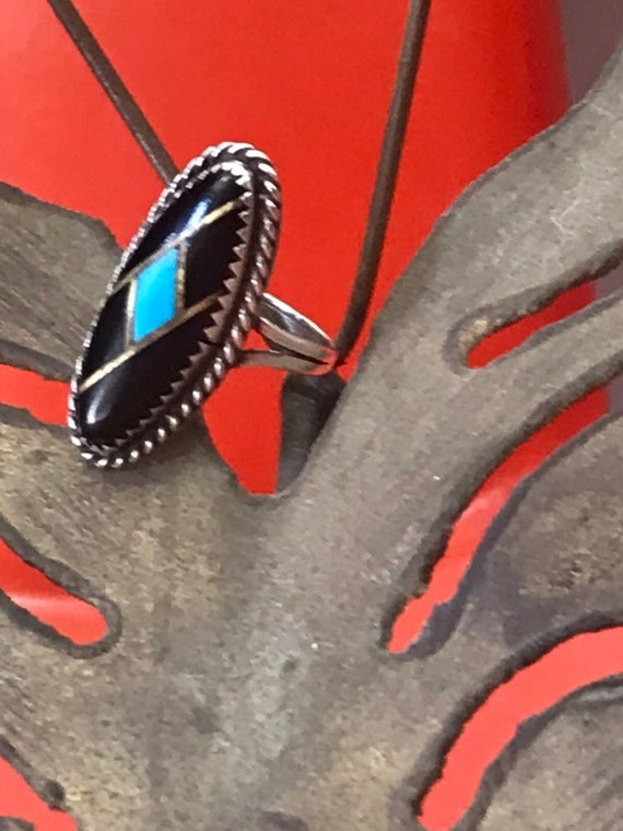 70s Gustavo Martinez Turquoise And Onyx Silver Ring size 6