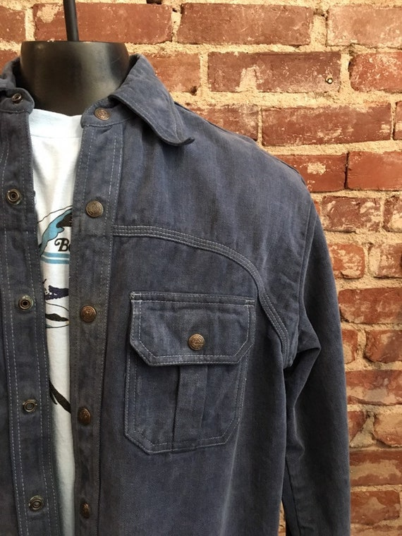 70s Men's Brushed Denim Jacket Size Large