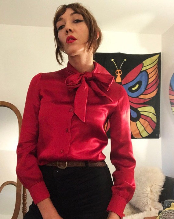 70s Ruby Red Satin Calvin Klein Blouse