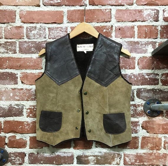 "70s Mens Suede Leather and Shearling Vest. Pacific Coast Leather of California 36"" chest size small"