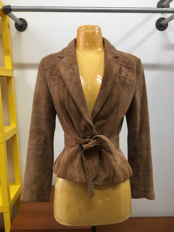 70s Wilsons Suede Belted Waist Jacket Vintage Seventies 1970s Size Small to Medium