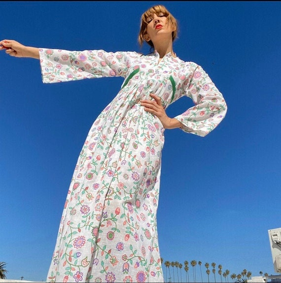 70s Psychedelic Bell Sleeve Gown