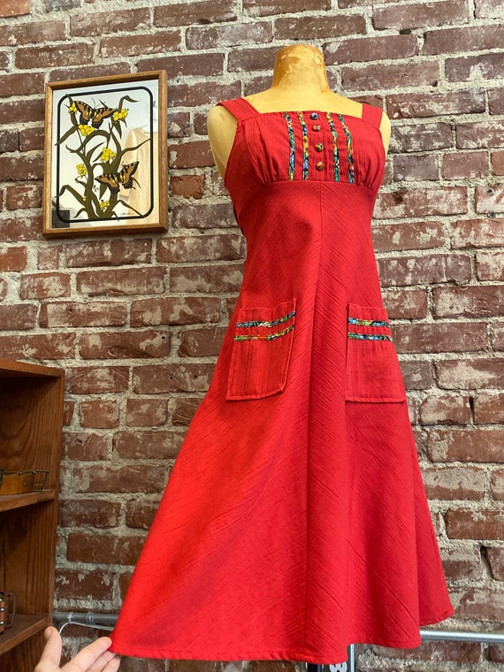 70s Red Cotton Sun Dress By Byer